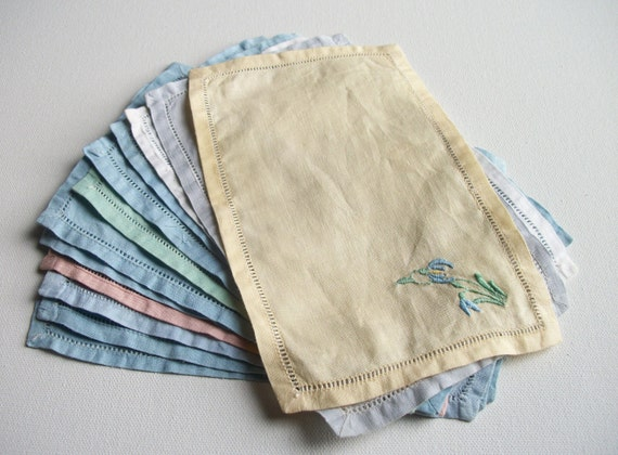 12 Vintage Pastel Linen Cocktail Napkins - Some with Embroidery