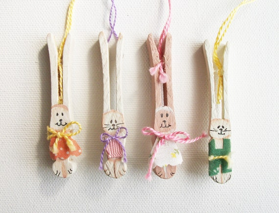 12 Vintage Handmade Bunny Rabbit Easter Ornaments - For Decoration or Gift Wrap