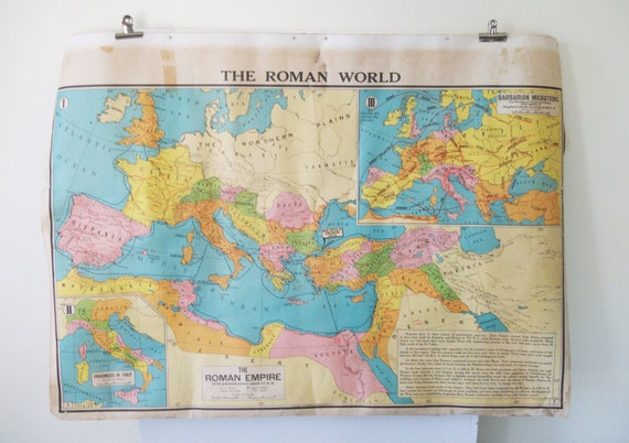 SALE Vintage School Map of Europe and The Middle East / The Roman World -Large Colorful Map - Modern School Supply Co, Inc