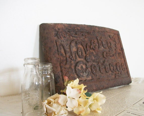 RESERVED for boorileybo until 6/5 -Vintage Rusty Metal Sign- Rustic outdoor wedding/ party décor