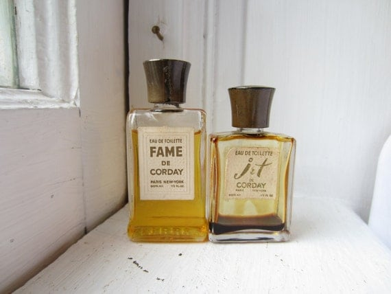 Vintage Fragrance Perfume Bottles From the 1940s - Fame de Corday and Jet de Corday - Beautiful for Decor or Props