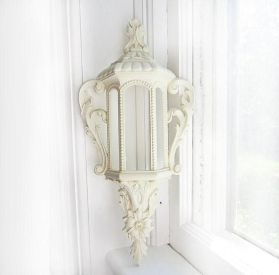 Vintage White Burwood Lantern Wall Hanging- 585-1 A