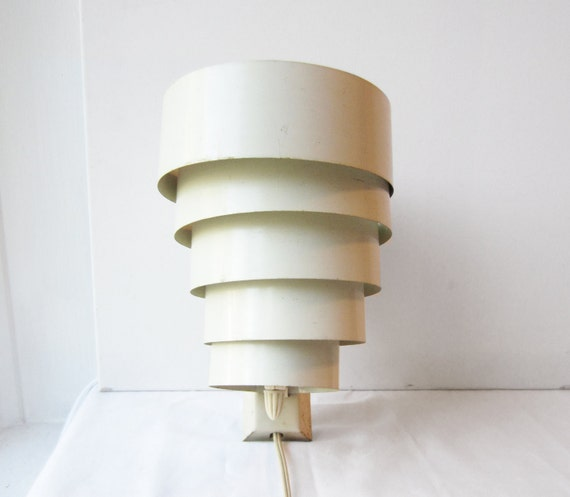Vintage White Metal Art Deco / Mid Century Modern Wall Sconce Light