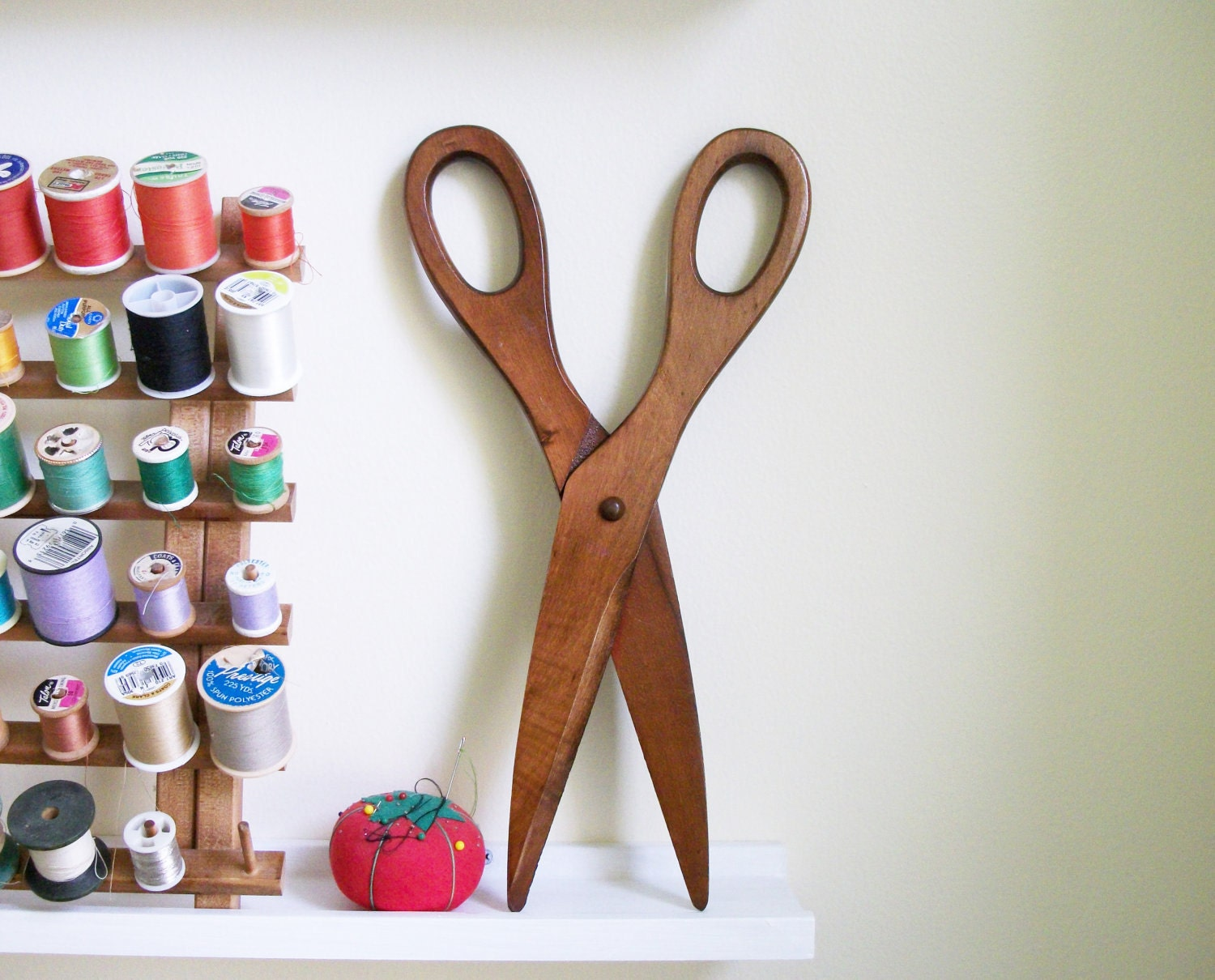 Large Vintage Wall Decor : Large vintage wooden scissors wall decor