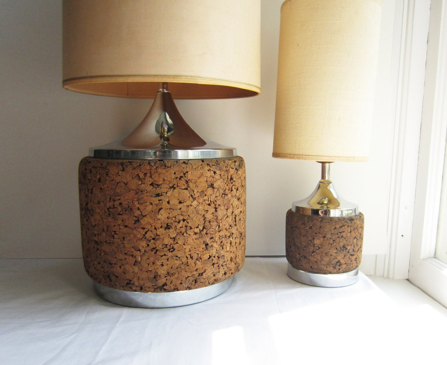 sale vintage cork chrome lamps pair of large and small. Black Bedroom Furniture Sets. Home Design Ideas