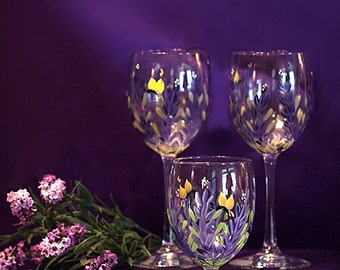 Handpainted Lavender Wine Glasses (2)