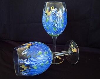 Hand painted Texas Bluebonnet Wine Glasses (pair)