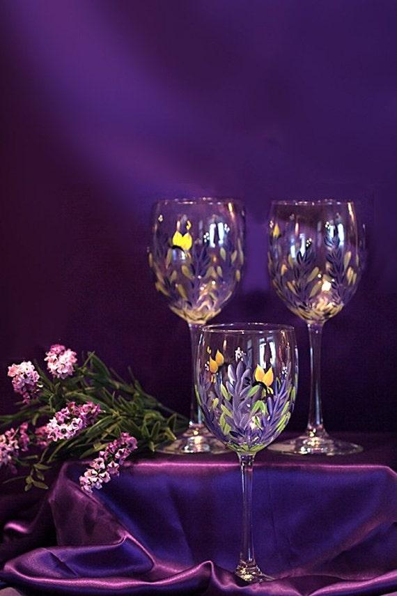 Handpainted Lavender Wine Glasses (2)