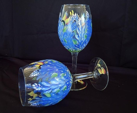 Hand painted Texas Bluebonnet Wine Glasses (pair)