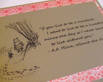 Live To Be A Hundred - Winnie the Pooh Quote - Classic Piglet and Pooh Note Card Pink Lace Border