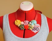 Quirky Fabric Yo Yo and Vintage Button Necklace