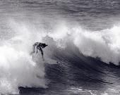 Surfing Photo Black & White - Surf Photography California - 8x12 B and W Photo - Metallic Paper