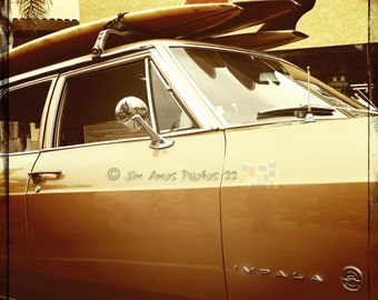 Chevy Impala - 5X5 Classic Car with Surfboards Photo - Vintage feel photography