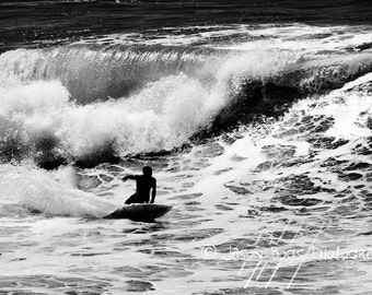 Surfing Photo - Black & White surf photography - California Wave 8x12 photo, Huntington Beach, Surf Photo, Surfing Photography, Beach Decor