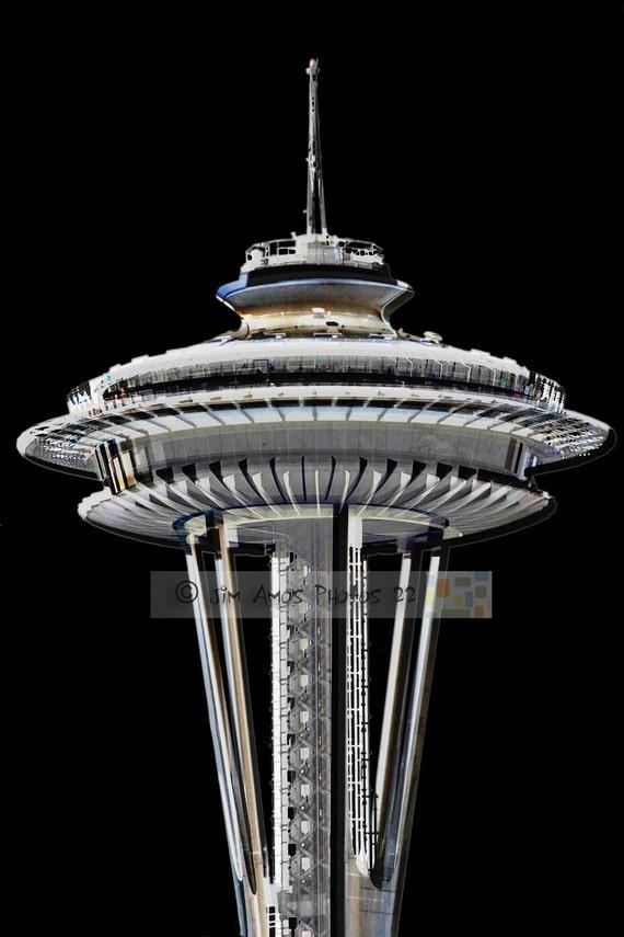 Seattle's Space Needle - 8X12 Black and White Fine Art Print - Seattle Washington Photography
