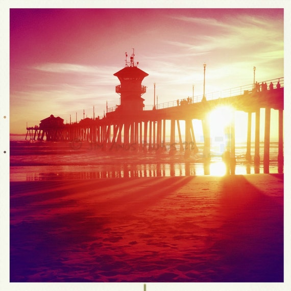 HB Pier at Sunset Glowing Red - 5X5 Square Fine Art Photo