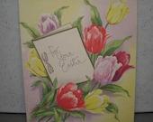 Vintage 1950s Unused Illustrated Easter Card