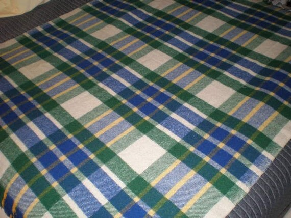 Vintage 1950s Wool  Plaid Blanket - Blue - Green - Yellow - White
