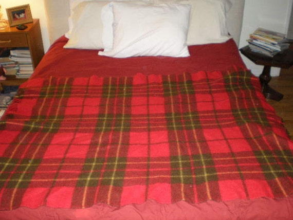 Vintage 1950s Red Plaid Wool Blanket