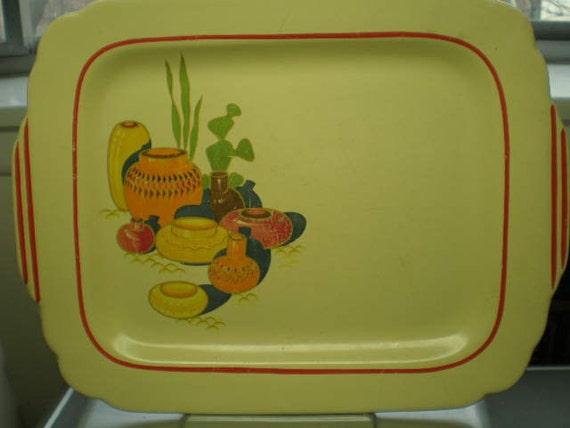 Vintage 1940s Ceramic Southwestern Design Platter - Reserved Item