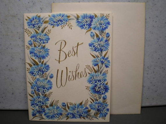 Vintage Unused 1950's Greeting Card - Best Wishes