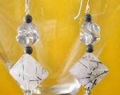 Silver Grey Tourmalated Quartz Carved Quartz Crystal, Swarovski Pearl and Crystal Fashion Earrings