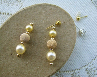 Earring Jackets for Posts or Studs, Pearl, Gold Sparkle Ball Dangle,Bridal, Dressy