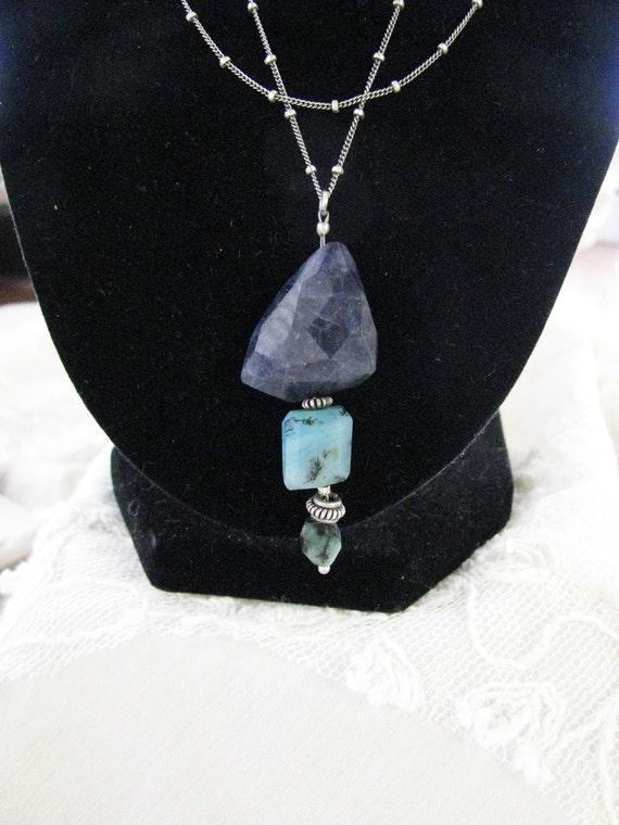Chunky Faceted Rere Dark Blue Iolite, Peruvian Opal, Rough Emerald ...