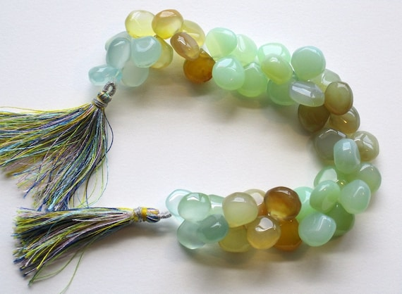 CHALCEDONY  briolettes (hearts) in five colors 8 inch, full strand Gem 2