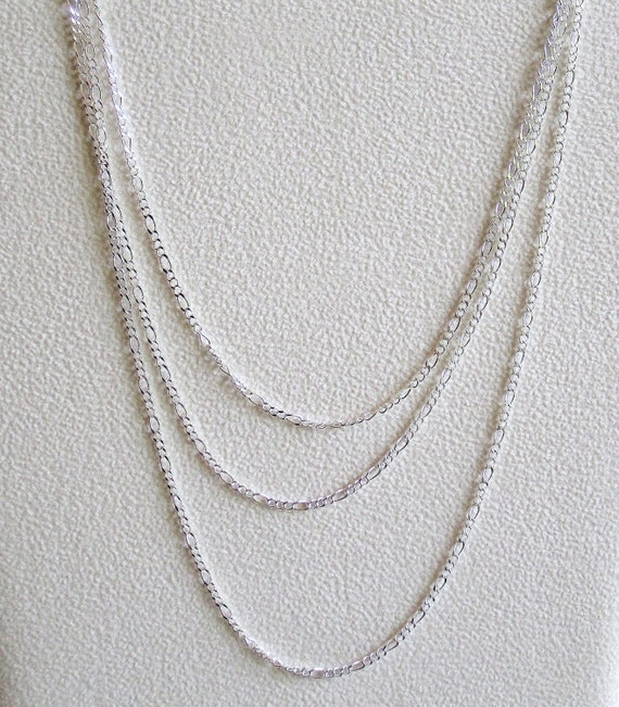PRIVATE LISTING for Lisa Sterling Silver  Figaro Chain necklace 24 inches 3 pcs.
