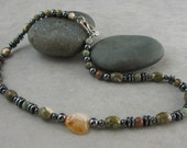 Success and Positivity Necklace with Rhyolite, Hematite and Citrine