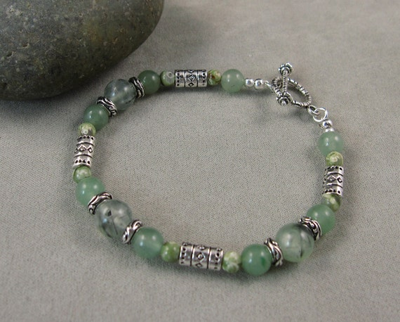 Energy & Vitality Bracelet with Green Tourmalinated Quartz, Aventurine and Rhyolite