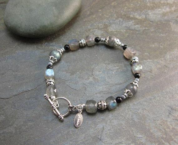 Transformation & Strength Bracelet with Labradorite and Black Onyx