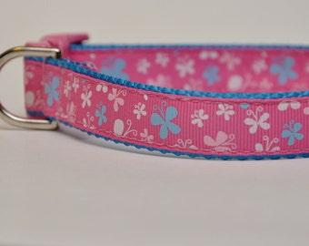 Medium Pink Butterfly Dog Collar