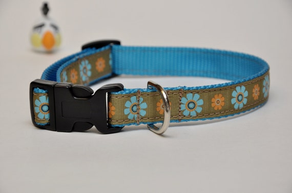 Medium Blue & Orange Floral Dog Collar
