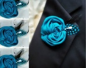 Prince Charming Set of 3 - Teal Rosette Boutonniere - Groom Groomsmen Gifts - Many Colors