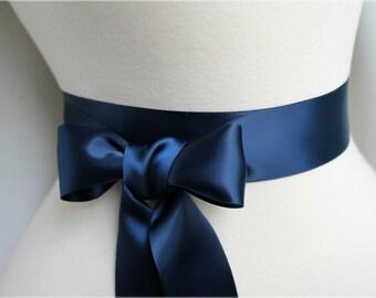 Navy Satin Sash Belt - Double Faced Satin Ribbon Sash - Beach Summer Nautical Wedding - Bridal Bridesmaids Flower Girl Sash - Many Colors