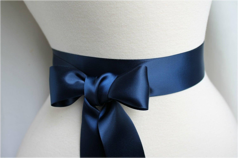 navy satin sash belt faced satin ribbon sash