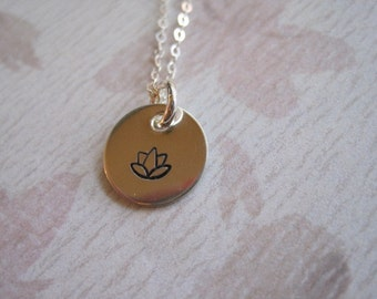 Lotus Flower Sterling Silver  - Handstamped Necklace