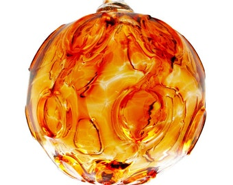 Blown Glass Holiday Ornament in Vibrant Apricot Color