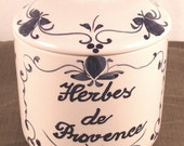Herbes de Provence porcelain canister jar Made in Portugal - monsieurbrocante