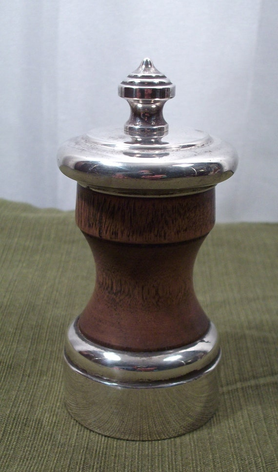 Vintage John Hasselbring sterling silver and wood pepper grinder or mill