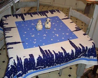 Classic Tablecloth - MANHATTAN SKYLINE - circa 1933 Reissue - Pure Linen