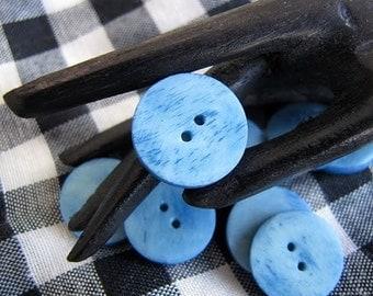 Krishna 15mm Blue Bone Buttons 10pc