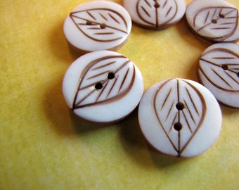 Mini Rustic Leaf Etched Bone Buttons 15mm 6pcs