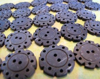 Delapan Octagonal 20mm Matte Coconut Shell Buttons, 8pcs