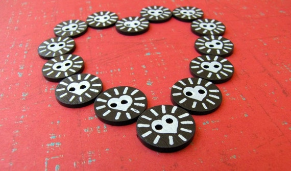 Cinta Love Handpainted 15mm Buttons 12pcs