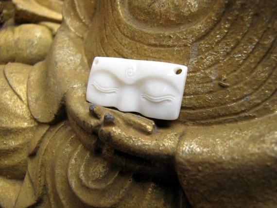 Buddha Eyes 30mm Drilled Cabochon in Carved Bone