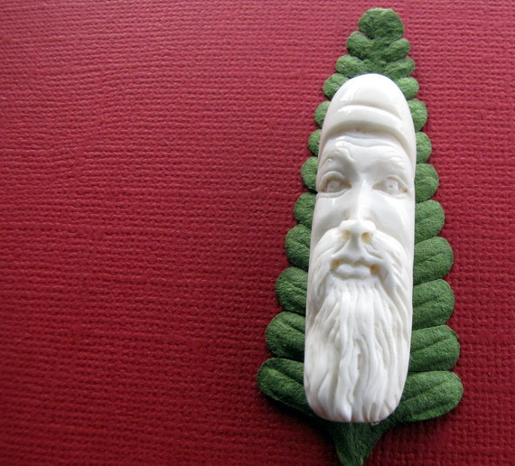 Sinterklas Carved Bone Pendant Bead 50mm