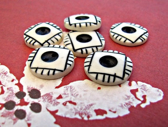 Mata Hitam - Black Eye Buttons 15mm 6pcs